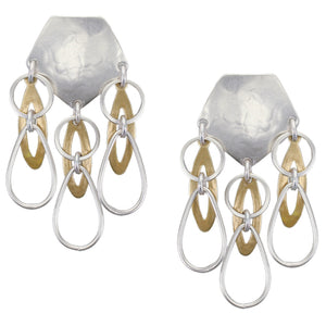 Large Shield with Linked and Layered Round and Oval Rings Post or Clip Earring