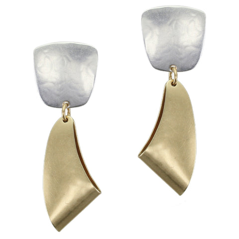 Tapered Square with Folded Swoop Post or Clip Earring