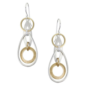 Linked and Layered Round and Oval Rings Wire Earring