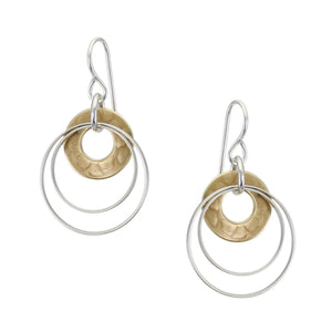 Cutout Disc with Double Thin Rings Wire Earring