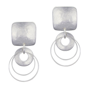 Medium Rounded Square with Cutout Disc and Double Rings Post or Clip Earring