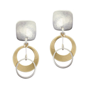 Rounded Square with Small Dished Cutout Disc with Extended Ring Drop Post or Clip Earring