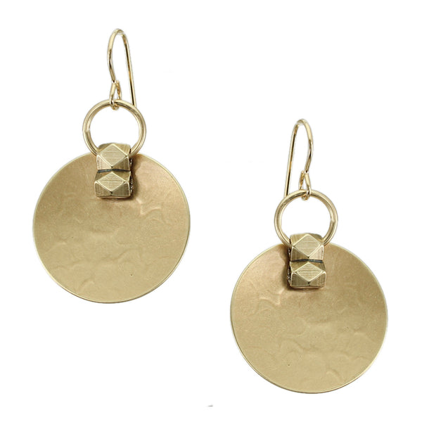Medium Dished Disc with Beads and Ring Wire Earring