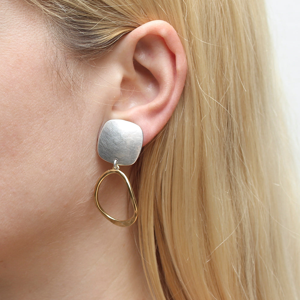 Rounded Square with Teardrop Ring Clip Earring
