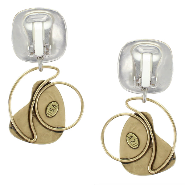 Rounded Rectangle with Rings and Fin Clip Earring