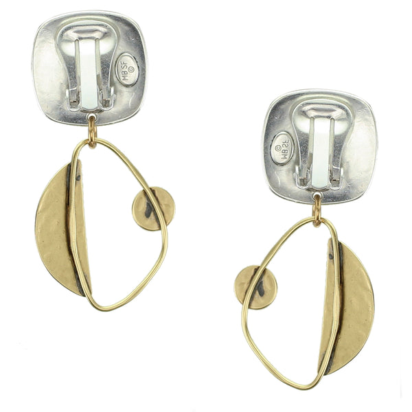 Rounded Square with Ring, Semi Circle and Disc Clip Earring