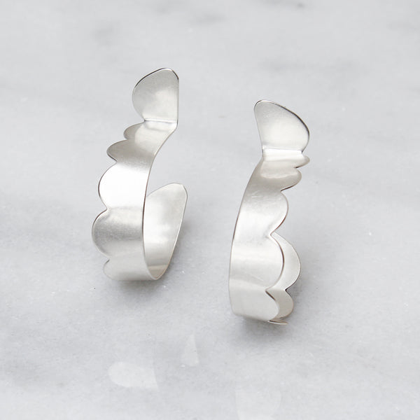 Scalloped Post Hoop Earring