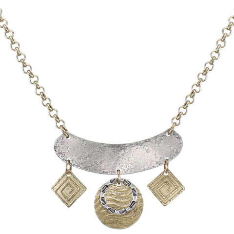 Curve with Patterned Squares Disc and Ring Necklace