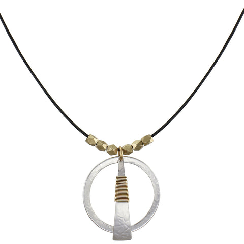 Thin Ring with Wire Wrapped Triangle and Beads Necklace