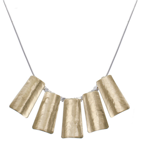 Five Long Curved Tapered Rectangles Necklace