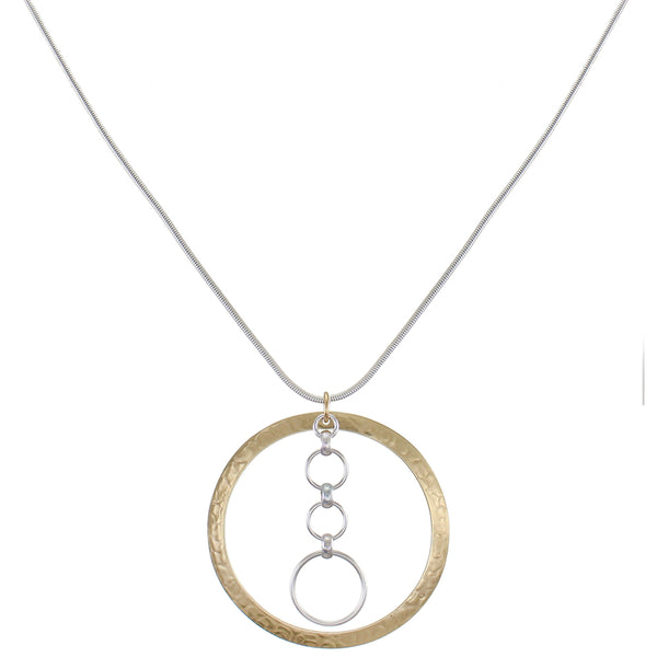 Wide Ring with Tiered Rings Necklace