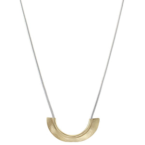 Overlapping Arcs with Tube and Snake Chain Long Necklace