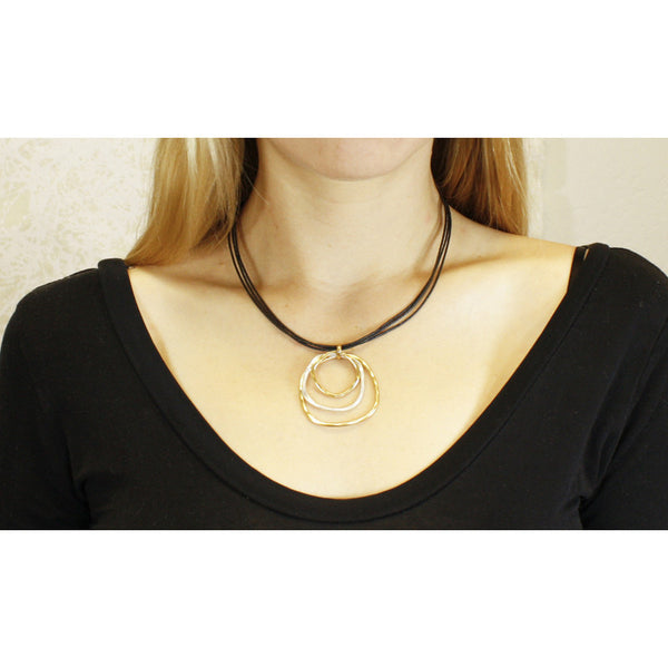 Tiered Ring Necklace on Black Cord