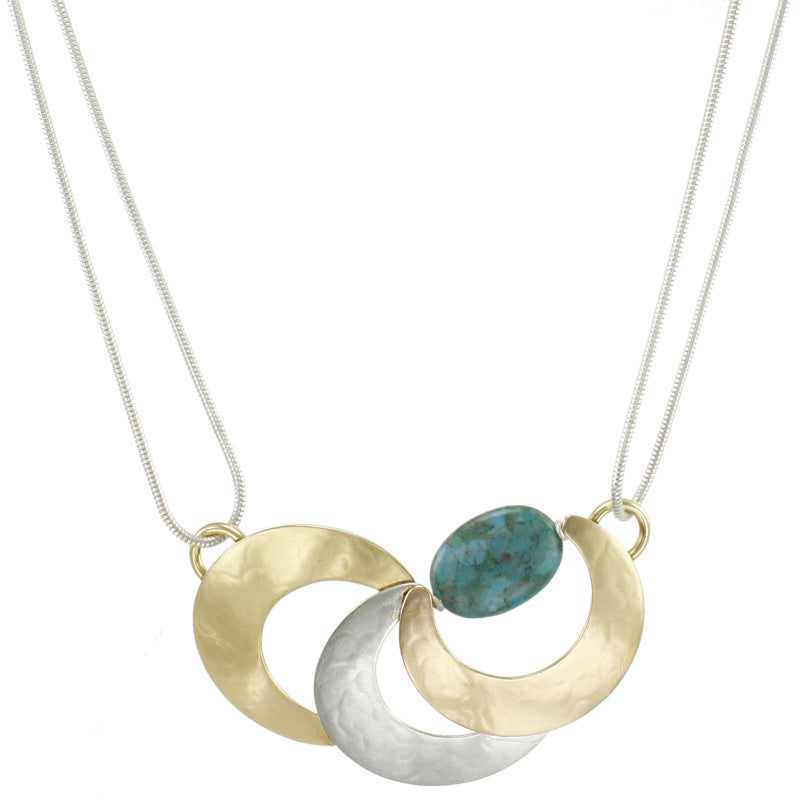 Layered Horseshoes with Turquoise Bead Necklace
