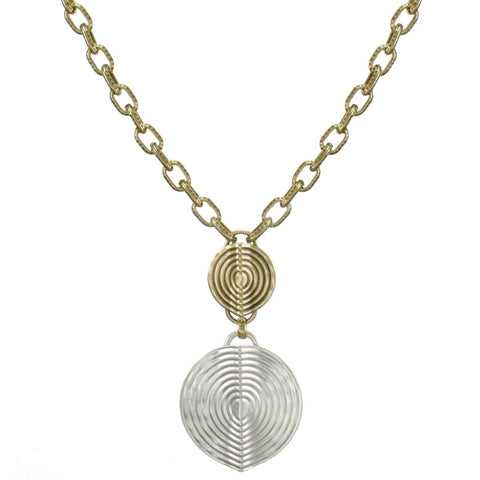 Two Patterned Folded Discs Necklace