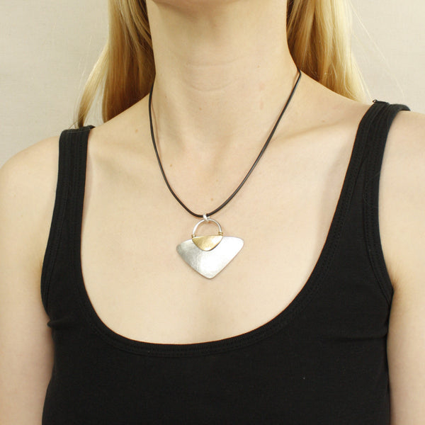 Rounded Triangles with Ring and Wire-Wrapping Necklace