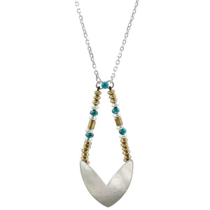 Chevron with Metal and Turquoise Beads Long Necklace