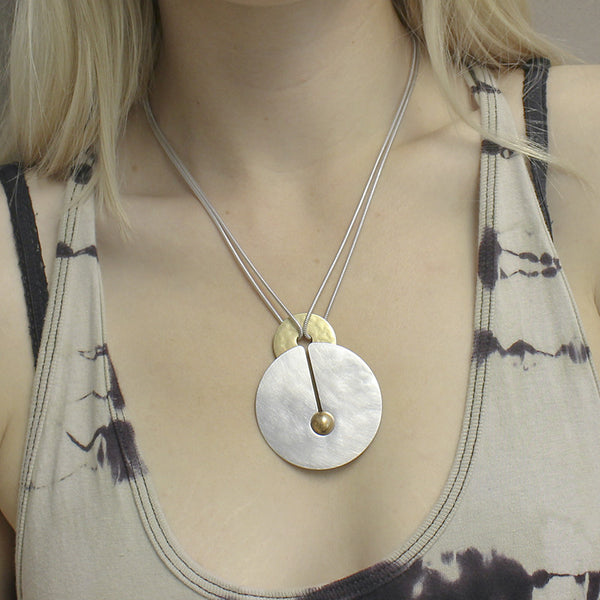 Layered Discs with Spherical Metal Bead Necklace