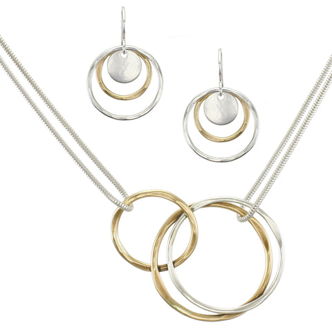 Hammered Rings Matching Set - Brass and Silver Necklace and Wire Earrings