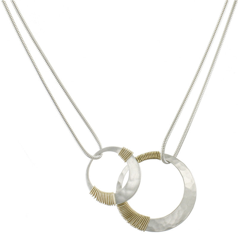 Wire Wrapped Overlapping Rings Necklace