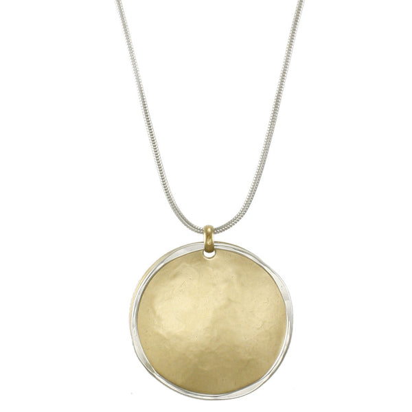 Large Layered Disc and Hammered Ring Necklace
