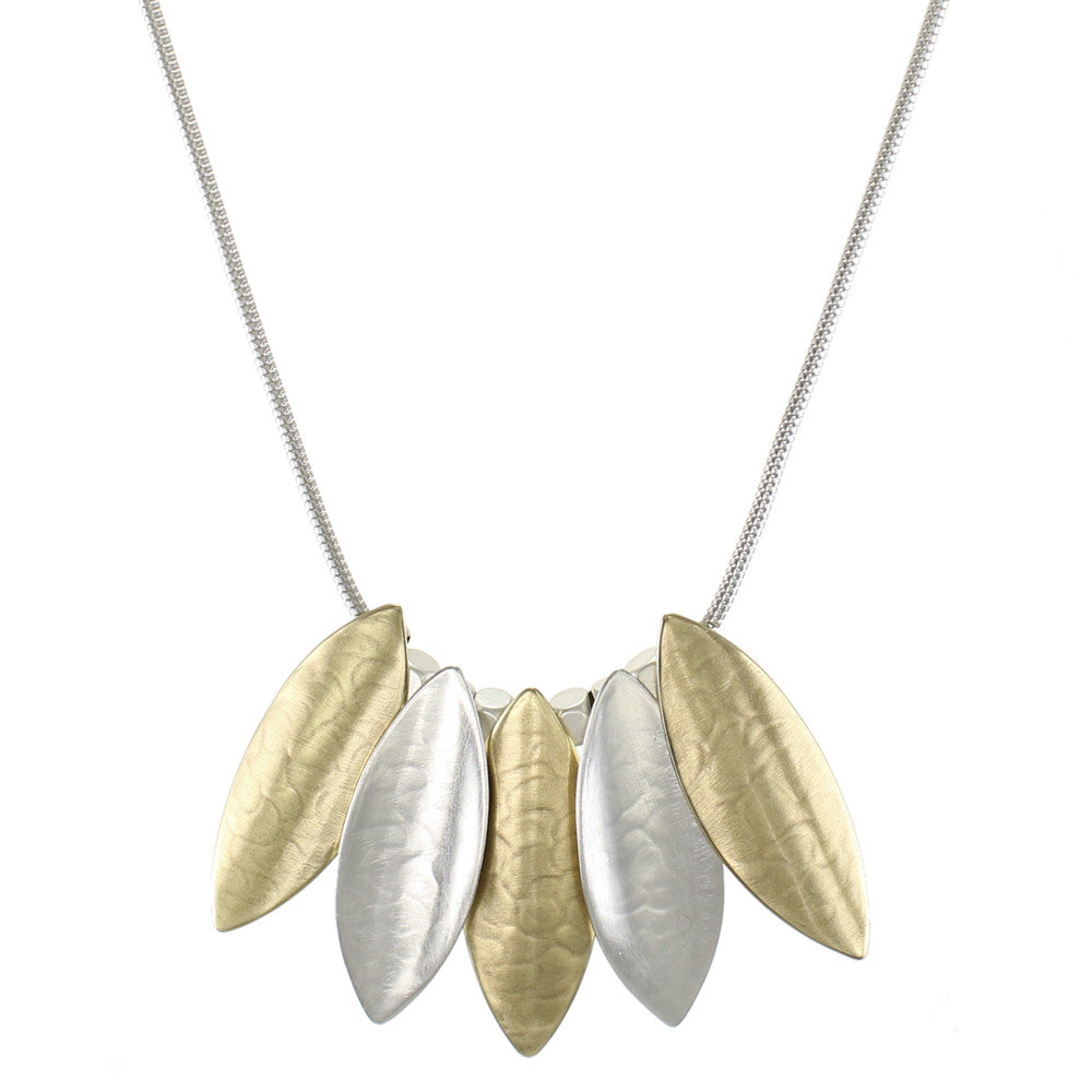 Overlapping Concave and Convex Leaves Necklace