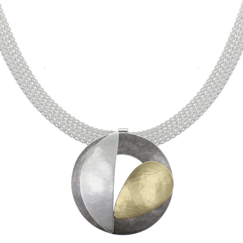 Cutout Disc and Leaves on Wide Mesh Chain Necklace