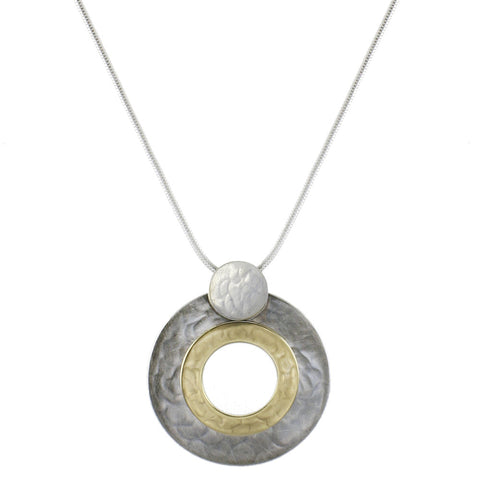 Disc with Stacked Rings Necklace
