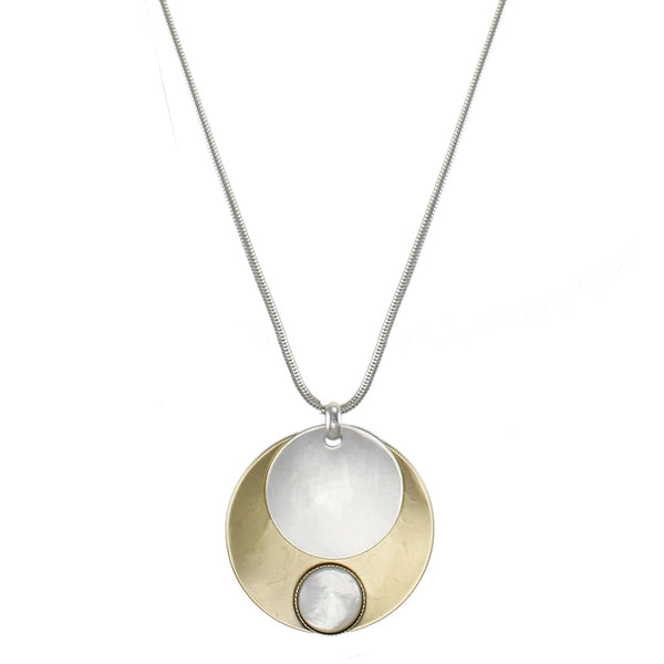 Mother of Pearl with Layered Discs Necklace