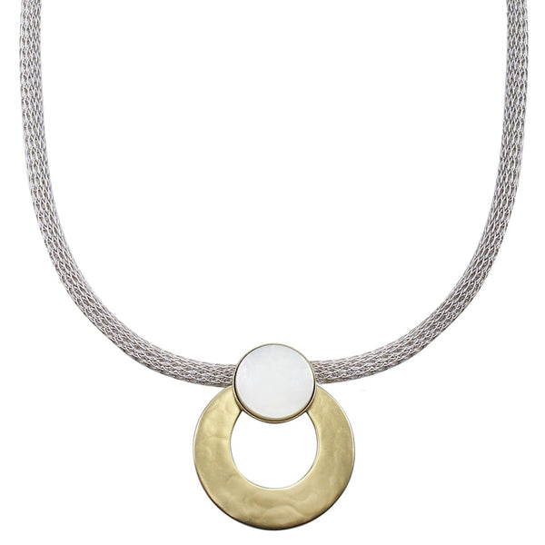 Mother of Pearl Disc with Wide Ring on Round Mesh Necklace