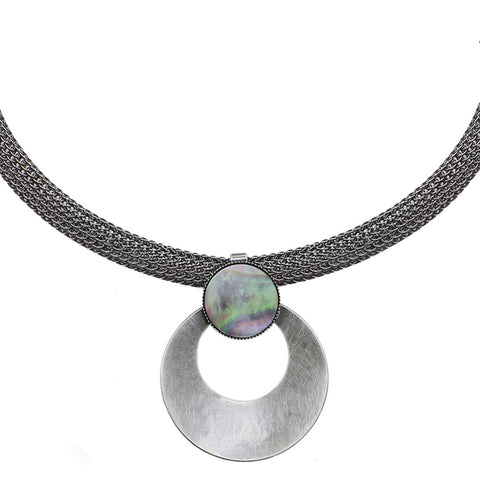 Cutout Disc with Black Pearl on Wide Mesh Chain Necklace