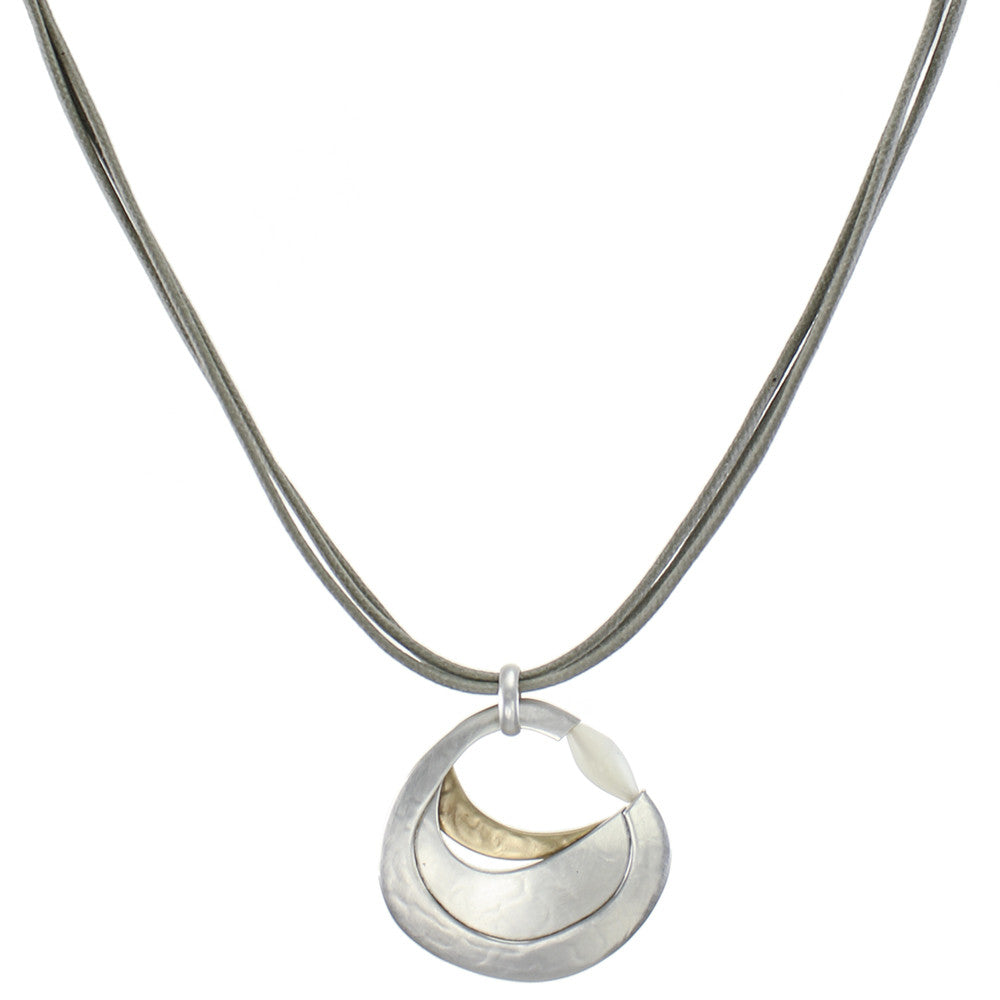 Layered Organic Circle with Mother of Pearl Bead Necklace on Grey Cord