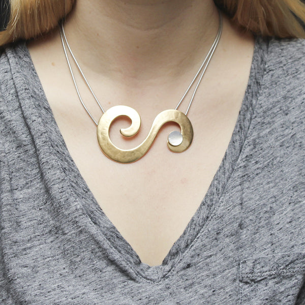 Swirls with Mother of Pearl Disc Necklace
