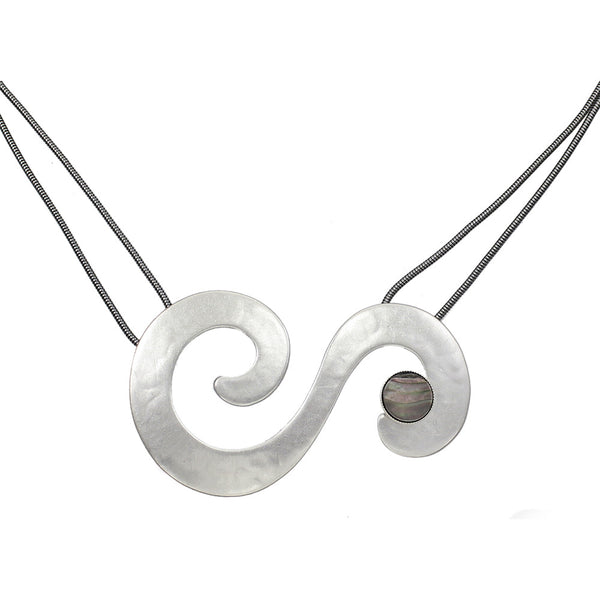 Swirls with Black Pearl Disc Necklace