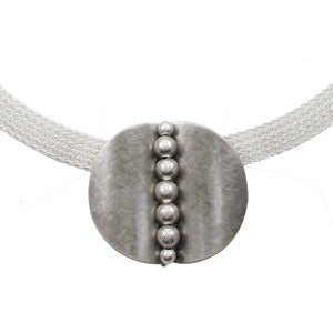 Folded Oval with Beads on Wide Mesh Chain Necklace