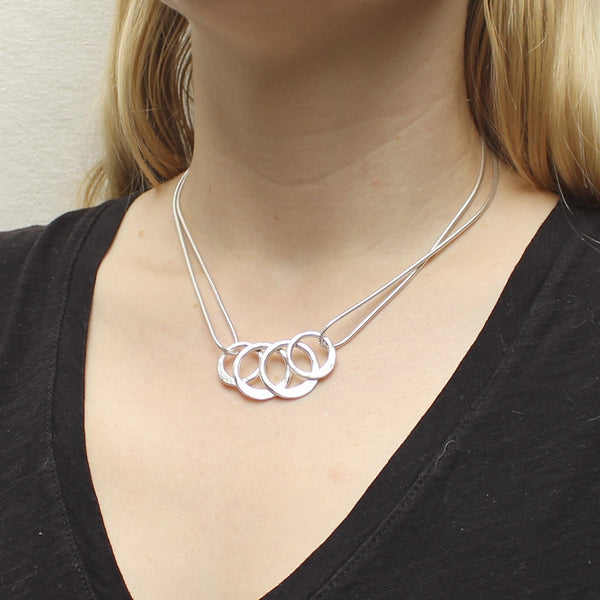 Overlapping Hammered Rings Necklace