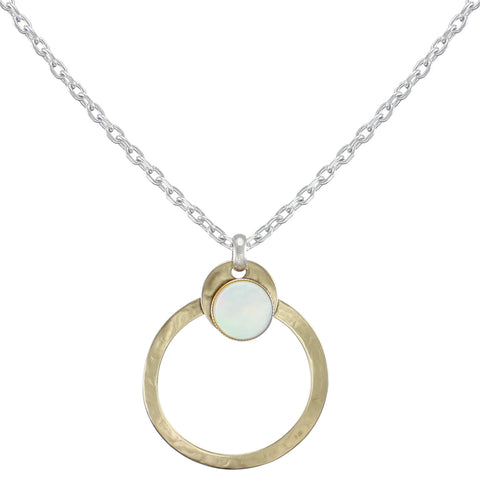 Ring with Mother of Pearl Disc on Link Chain