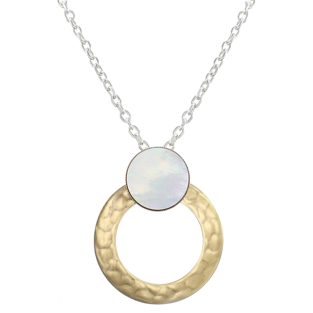 Wide Ring with Mother of Pearl Disc Necklace on Link Chain