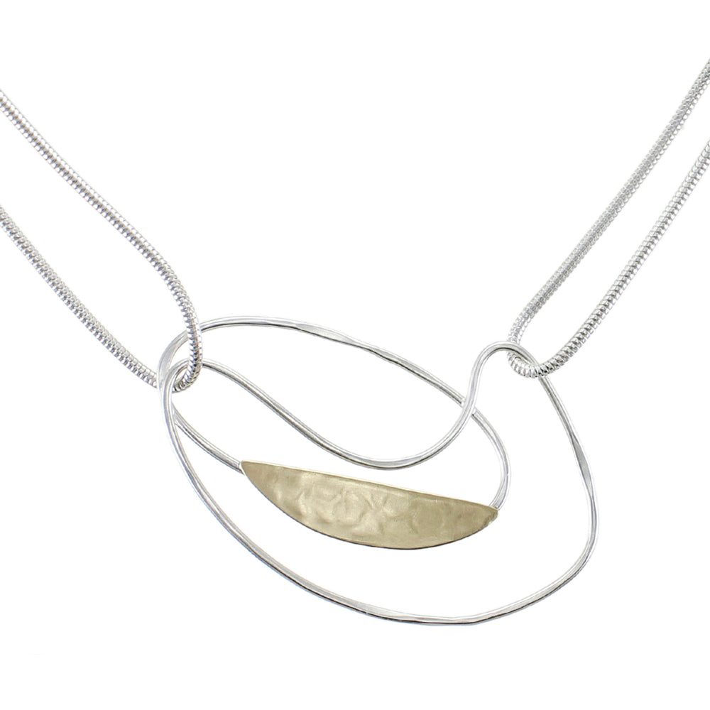 Oval Ring with Slice and Swoosh on Doubled Chain Necklace