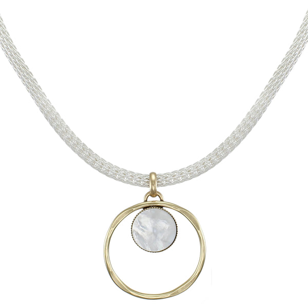 Ring with Mother of Pearl Disc on Round Mesh Chain Necklace