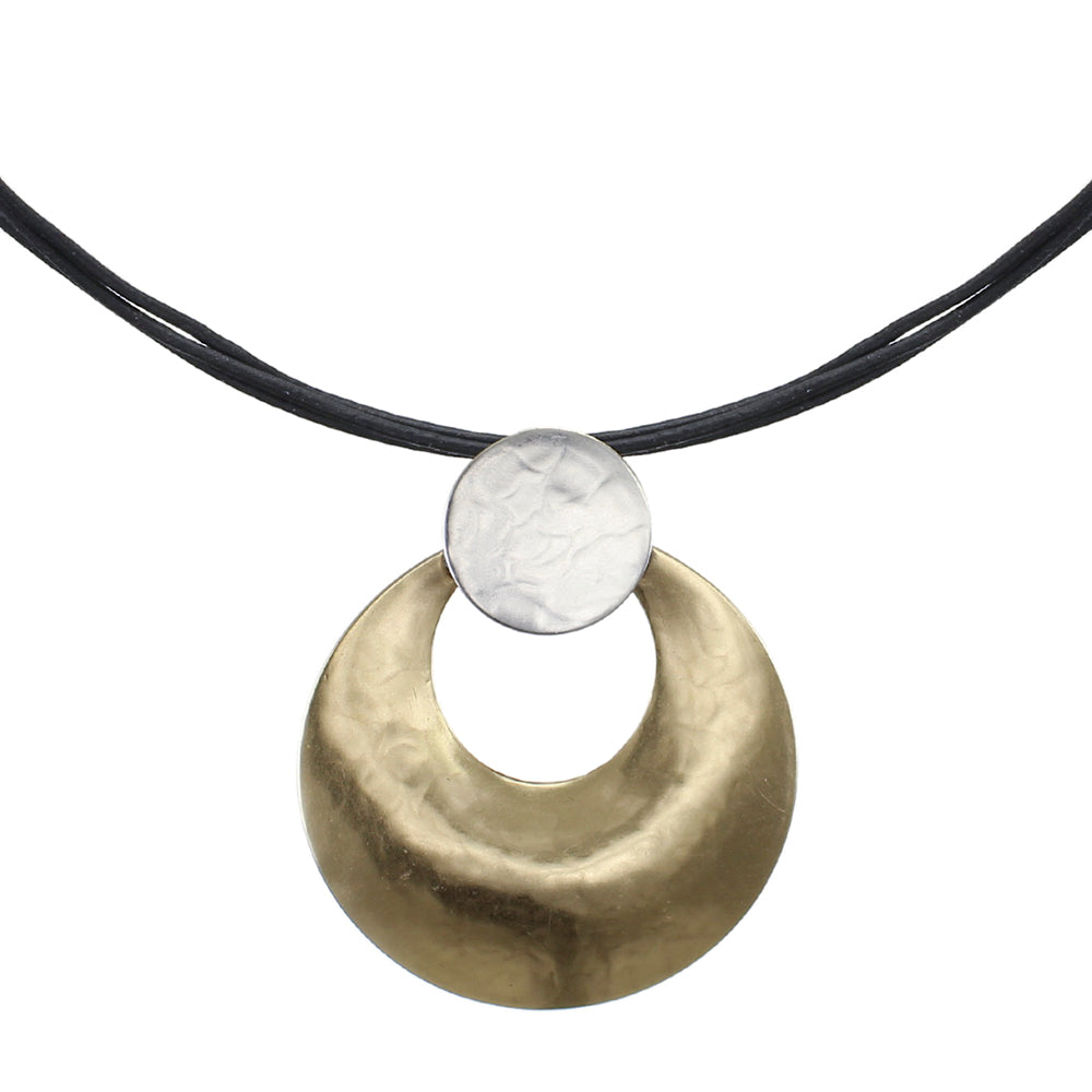Disc with Cutout Disc on Black Cord Necklace