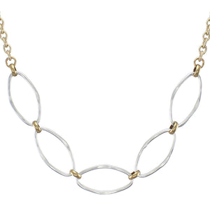Large Hammered Oval Rings Short Necklace