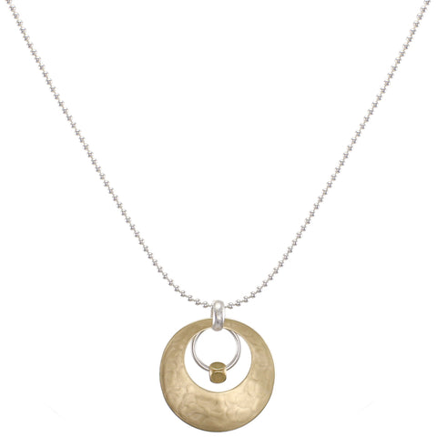 Cutout Disc with Ring and Bead on Ball Chain Necklace