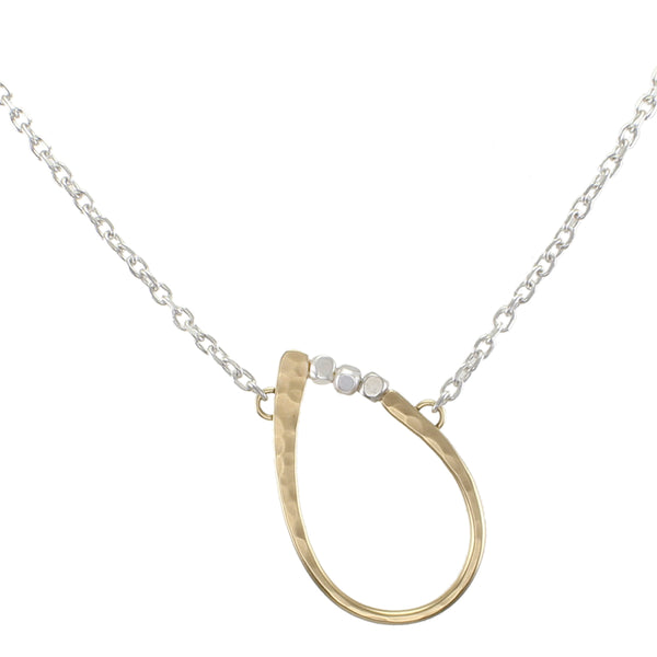 Slanted Oval Ring with Beads Necklace