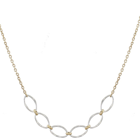 Small Hammered Oval Rings Long Necklace