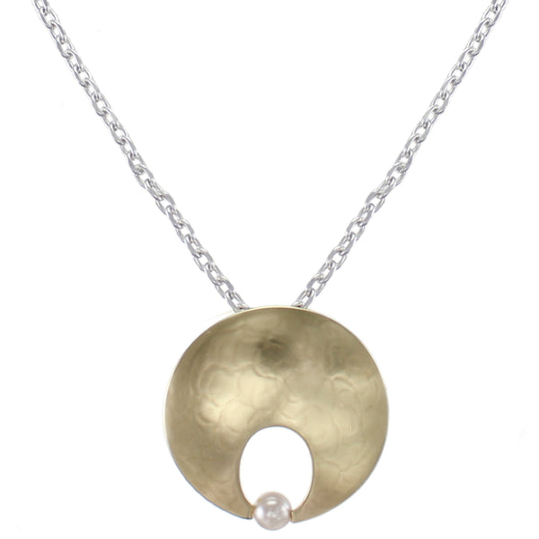 Cutout Disc with Cream Pearl Necklace