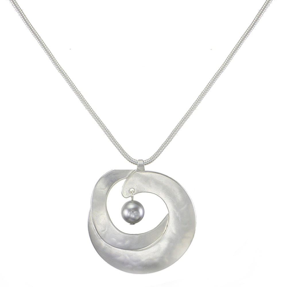 Interlocking Organic Crescents with Grey Pearl Necklace