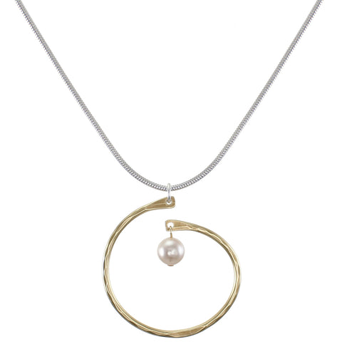 Spiral with Cream Pearl Drop Necklace
