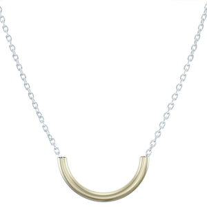 Short Curved Tube on Link Chain Necklace