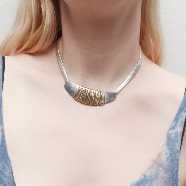 Heavy Metal Matching Set - Silver Pieces with Brass Wire Wrapping Post or Clip Earrings with Matching Necklace